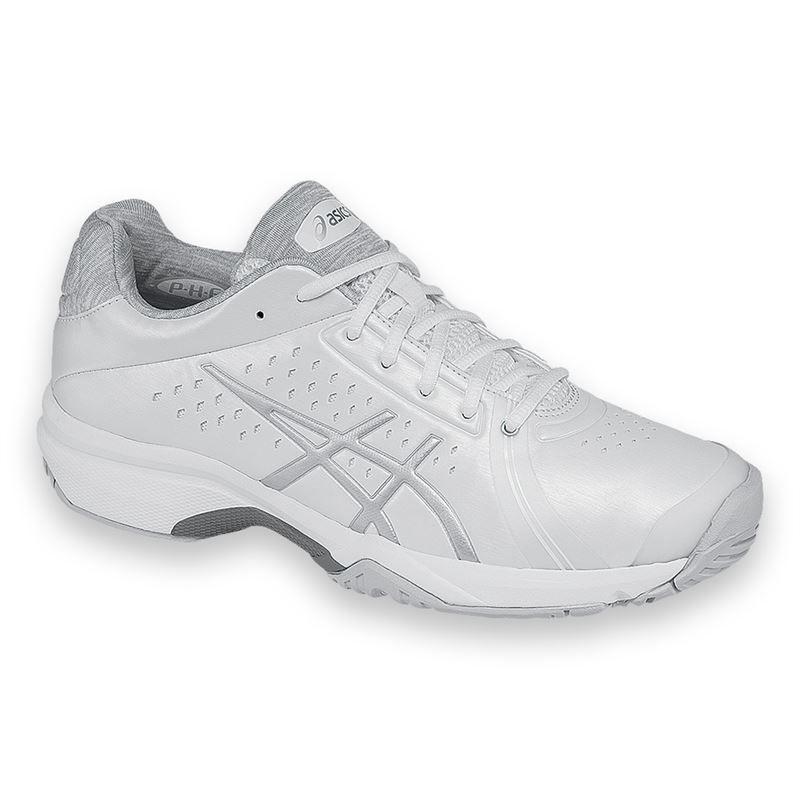 asics gel court womens tennis shoe white silver