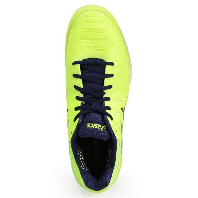 asics gel resolution 7 mens tennis shoe yellow blue