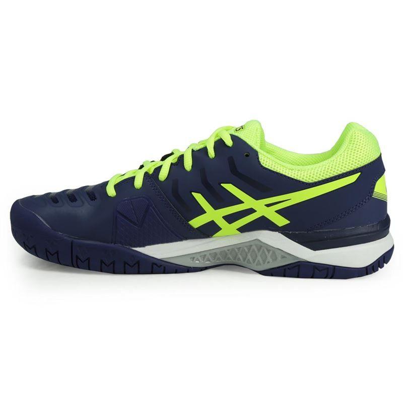 asics gel challenger 11 mens tennis shoe blue yellow