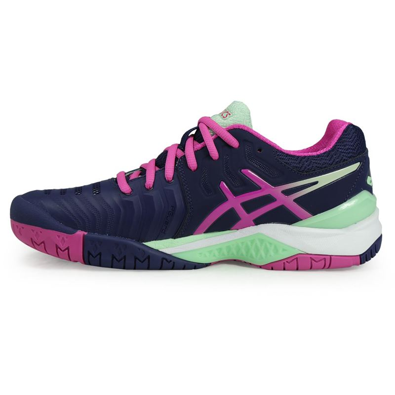 asics gel resolution 7 womens tennis shoe blue e751y 4920