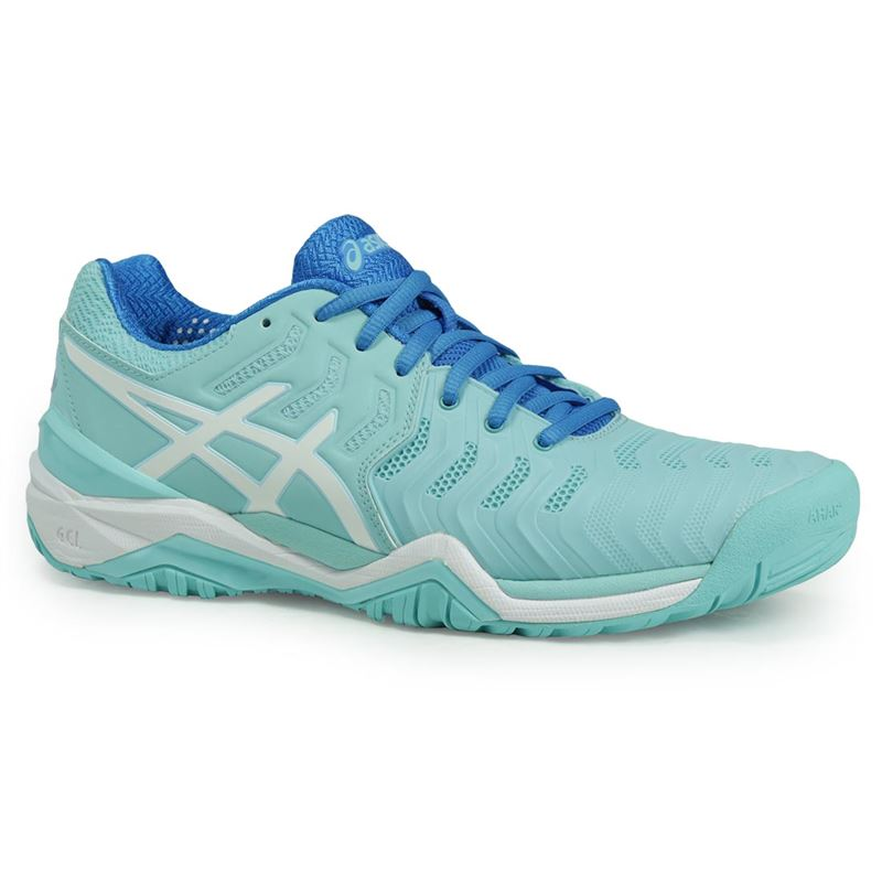 asics gel resolution 7 womens tennis shoe aqua e751y 6701