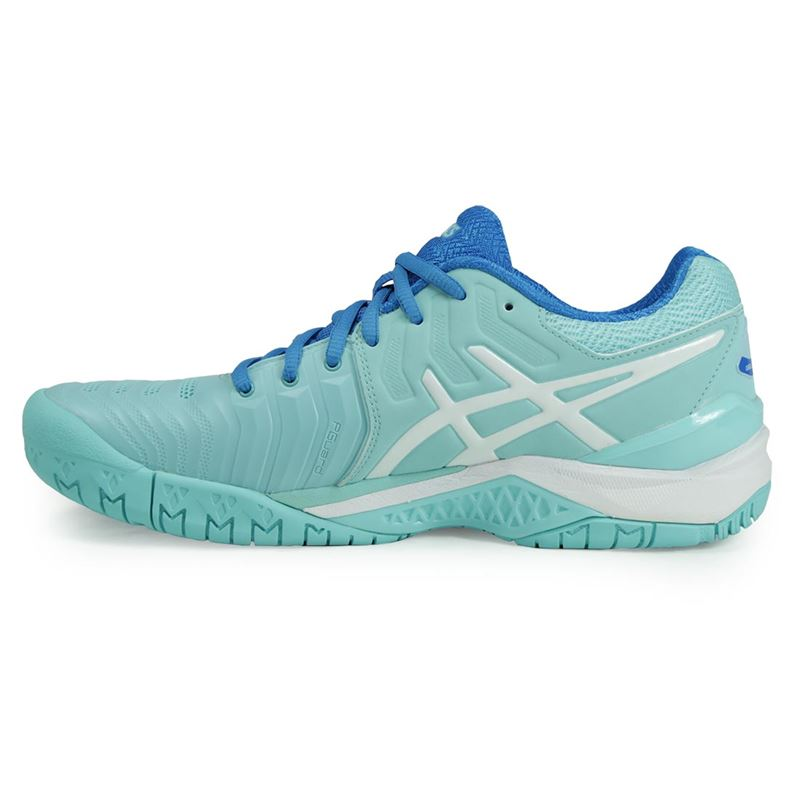 asics gel resolution 7 womens tennis shoe aqua e751y 6701