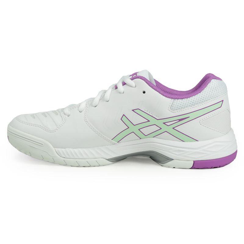 asics gel 6 womens tennis shoe white green e755y 0187