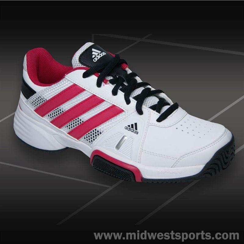 Midwest Sports adidas Barricade Team 3 Junior Tennis Shoe-White/Pink
