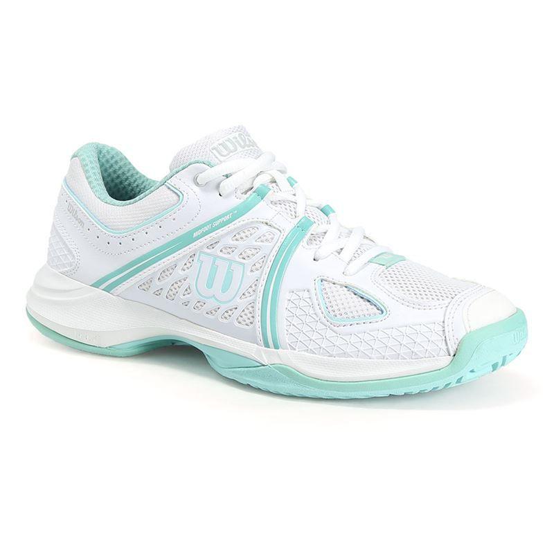 Wilson NVision Womens Tennis Shoe, White/Aruba Blue, WRS320840